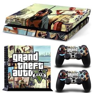 Grand Theft Auto V GTA5 игровая Наклейка для Sony PlayStation 4 консоль + 2 контроллера Скины PS4 аксессуары