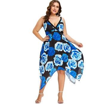 9e0cdf23f80b02 Talla grande Floral imperio cintura pañuelo vestido mujeres vestidos ...