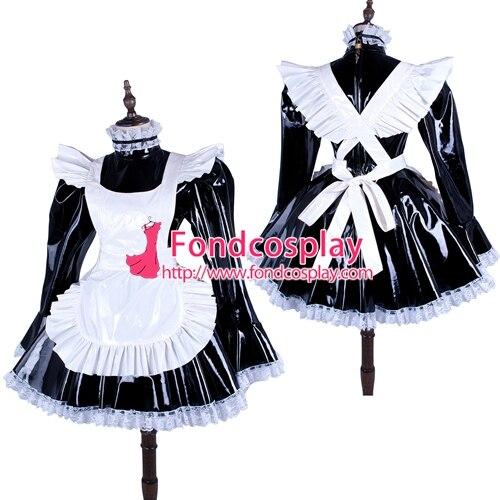 PVC Lockable Sissy Maid Dress Vinyl Uniform Tailor-Made[G1486]