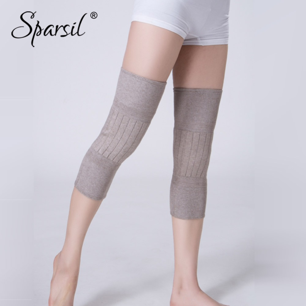 Sparsil Men Women Thicken Cashmere Knit Knee Sleeve Elastic Pleated Curved Support  Long Winter Warm Joint ColdProof Knee Pads