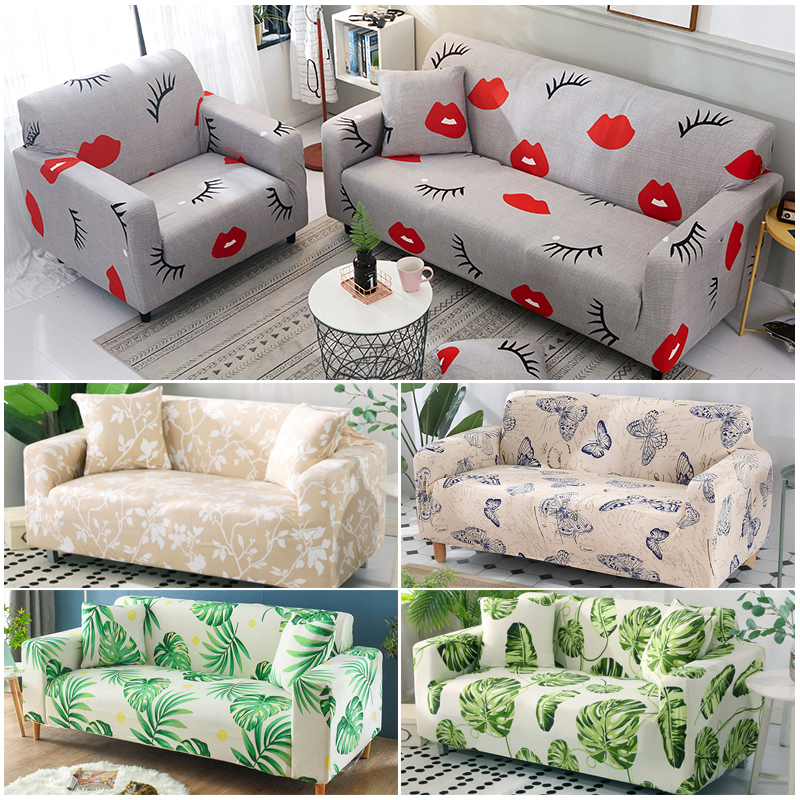 Green Leaf Sofa Cover Cotton Set Elastic Couch Cover Sofa Covers For Living Room Pets Cubre Sofa Sofa Towel 1/2/3/4-Seater 1PC