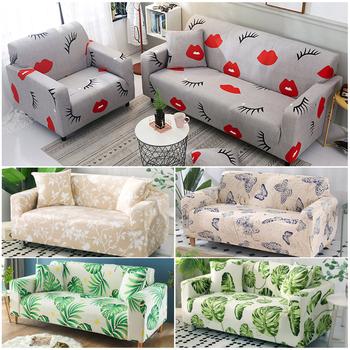 Green Leaf narzuta na sofę zestaw bawełniany elastyczna narzuta na sofę narzuta na sofę s do salonu zwierzęta cubre Sofa Sofa ręcznik 1 2 3 4-Seater 1PC tanie i dobre opinie coomax 90-140cm 145-185cm 195-230cm 235-300cm Sofa Cover Rozkładana okładka Drukowane Duszpasterska W paski Podwójne siedzenia kanapa