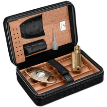 free ship black cigar box set humidor 4 sticks with sharpness cigar cutter portable windproof lighter CA-0309