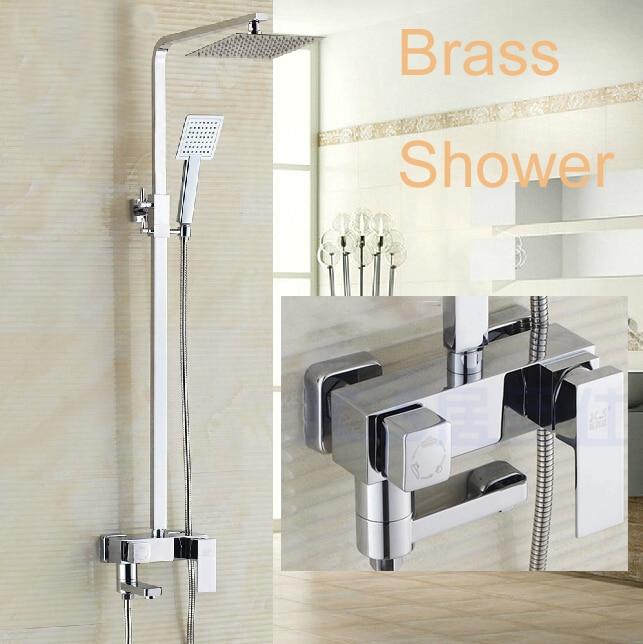 Luxury Chrome 8 Rain Brass Shower Head Tub Spout Bathroom Shower Sprayer Wall Mounted Hand Shower