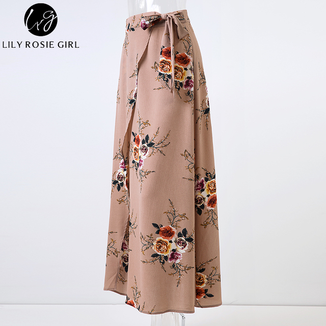 Lily Rosie Girl Floral Print Long Skirts Women Summer Elegant Beach Maxi Skirt Boho Style High Waist Asymmetrical