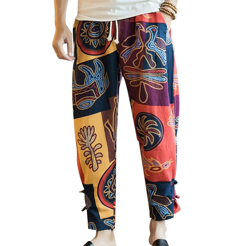 2018 Plus Size Men Harem Pants Chinese Ethnic Printed Baggy Elastic Waist Cotton Sweatpants Men Casual Hip-hop Trousers Pantalon