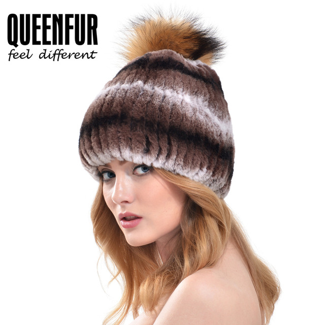 QUEENFUR Women Real Rex Rabbit Fur Hat With Raccoon Fur Pom Poms Fur Knit Beanies With Lining 2016 New Fashion Genuine Fur Caps