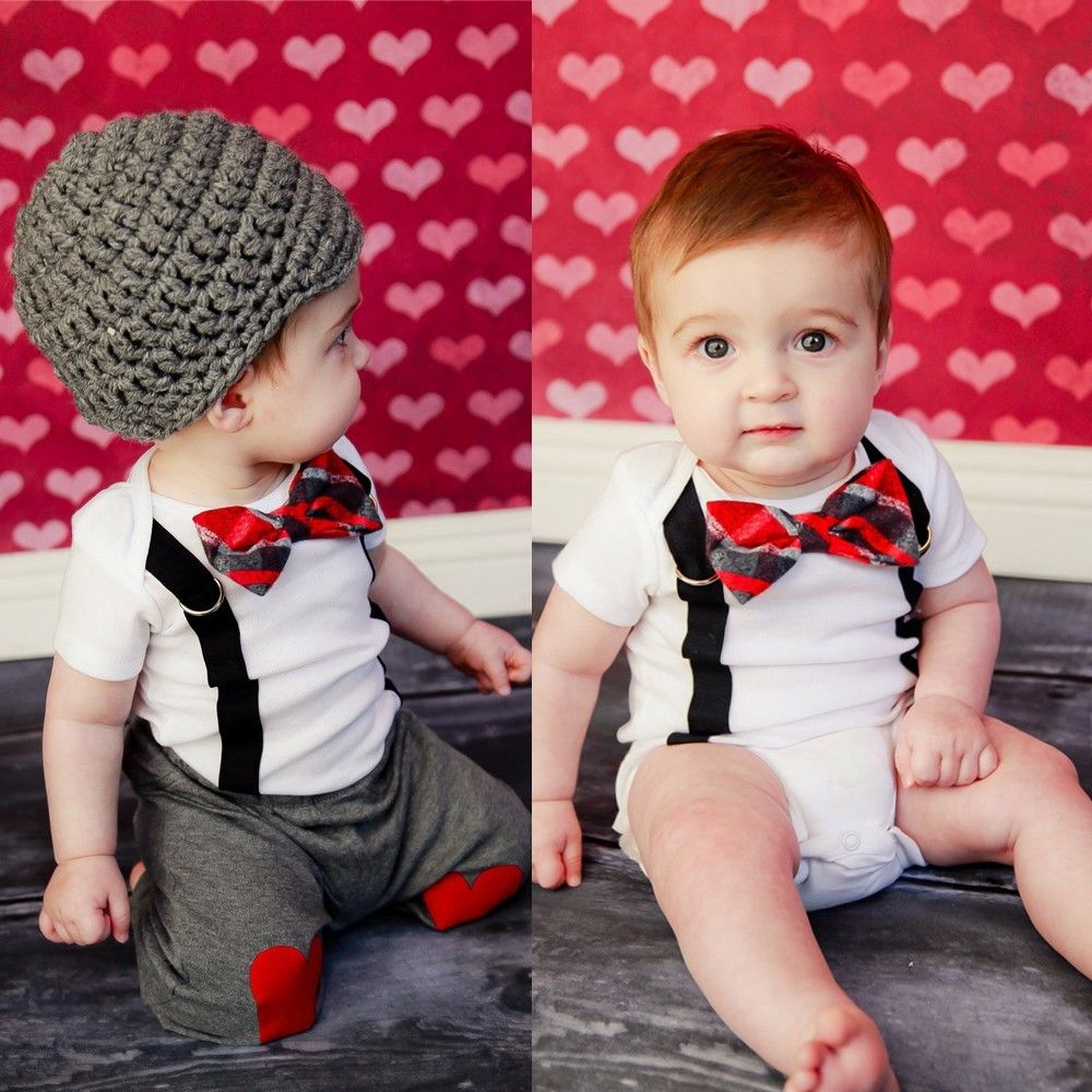 10c264e88 New Cute Baby Boy Clothing Sets Bow Tie Bodysuit Suspenders Pants Tops 2pcs  Outfit Set Summer Clothes Photo Props 1 2 3 Years