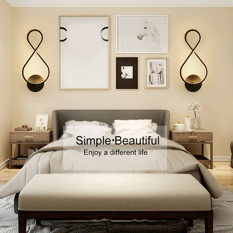 US $20.27 32% OFF High 8 shaped LED Wall Lamps Nordic Headboard Wall Lamps  Living Room Restaurant Corridor LG66-in LED Indoor Wall Lamps from Lights &  ...