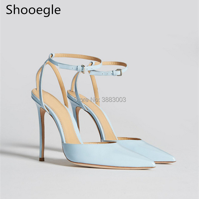 Newest wathet blue Thin High Heels Women Pumps Buckle Ankle Strap Pointed Toe Party Dress Shoes Sapato Femmes