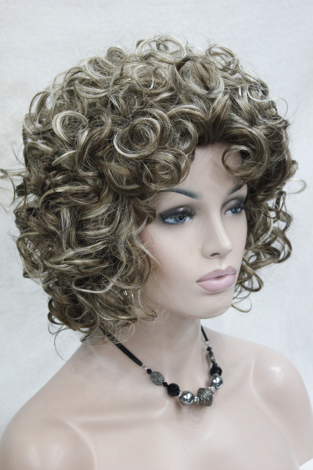2015 New super Fashion Brown mix loose curls short synthetic hair wig