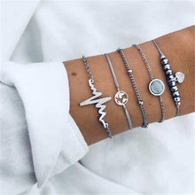 Ahmed 5Pcs/set Boho Heartbeat World Map Charm Bracelet Set for Women Silver Color Fashion Chain Bracelet Bangles Accessories(China)