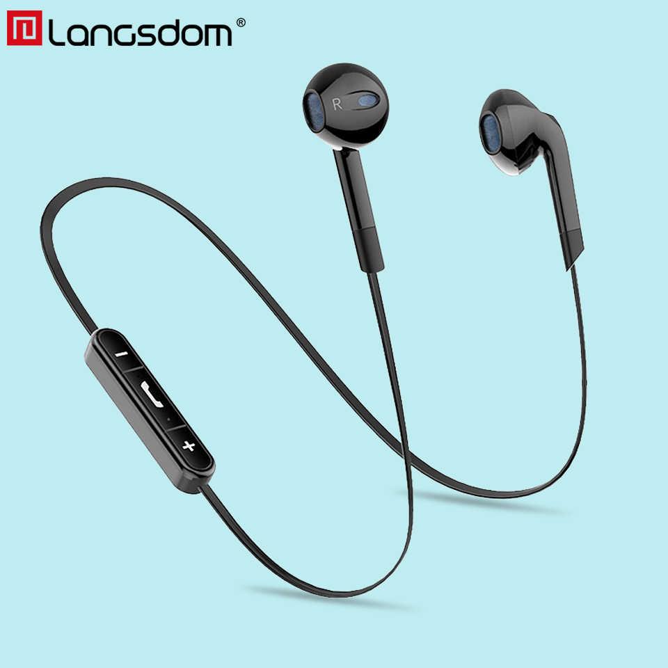Langsdom イヤホン BL6 ワイヤレス Bluetooth イヤホンスポーツ auriculares ヘッドセット電話の半分インイヤーの Bluetooth イヤホン