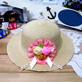 1Pcs 2016 New Three Rose Summer Children Sun Hat Spring Adult And Girl Beach Straw Hats Parent-child Cap 8 Colors