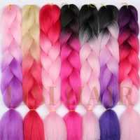 LISI cheveux Jumbo tresses coiffures Ombre Jumbo synthétique tressage cheveux Crochet Blonde rose bleu gris Extensions de cheveux