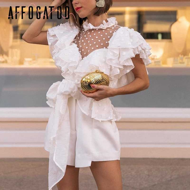 Affogatoo Vintage victoriaanse kant witte blouse vrouwen Transparante mesh dot zomer top 2019 Chiffon sash elegant femme overhemd ruche