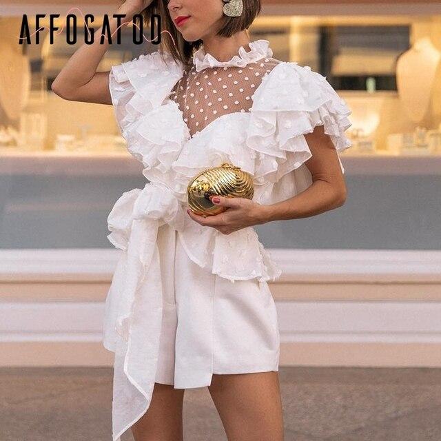 Afogafoo винтажная викторианская кружевная белая блузка женская прозрачная сетчатая летняя блузка в горошек 2019 шифоновая лента элегантная женская рубашка с рюшами