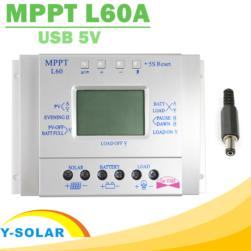 MPPT Solar Charge Controller 60A LCD Display Solar Regulator 12V 24V with Light and Timer Control Easy Settable for PV Y-SOLAR 60a 12v 24v 48v mppt solar charge controller with lcd display and rs232 interface to communicate with computer