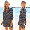 Fashion Women 3/4 Sleeve Striped Casual Long Shirt Sexy Girls Clothes Turn-Down Collar Shirts