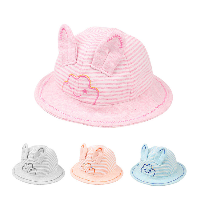 45c37a47b36 Cute Cartoon Baby Girl s Hat Cotton Infant Panama Striped Baby Boys Hat  With Rabbit Ears Wide Brim Sun Cap Baby Girl Clothing