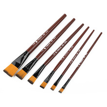 6Pcs High Quality Artist Nylon Hair Wooden Handle Watercolor Acrylic Oil Paint Brush Set For Drawing Painting Art Supplies