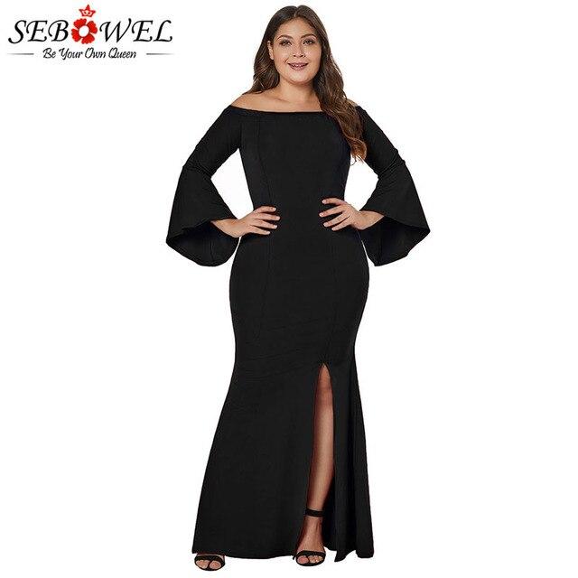 SEBOWEL Plus Size Off the Shoulder Split Mermaid Maxi Dresses Woman Female  XL 2XL 3XL 4XL Large Size Bell Sleeve Party Dress cf053f29a42f