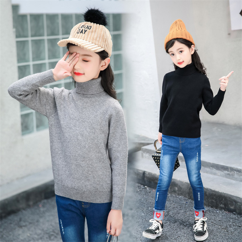 4-12 y children black turtleneck sweater for girls knitted sweaters autumn winter tops warm girl clothes teenage 10 12 years christmas sweaters for children toddler knited girls sweaters for fall winter thick tops warm mother and daughter clothes beige