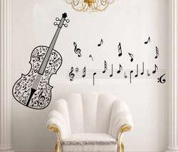 Горячая большая наклейка на стену Декор Музыка Примечание гитарная Надпись Дома детей детской стикер на стену