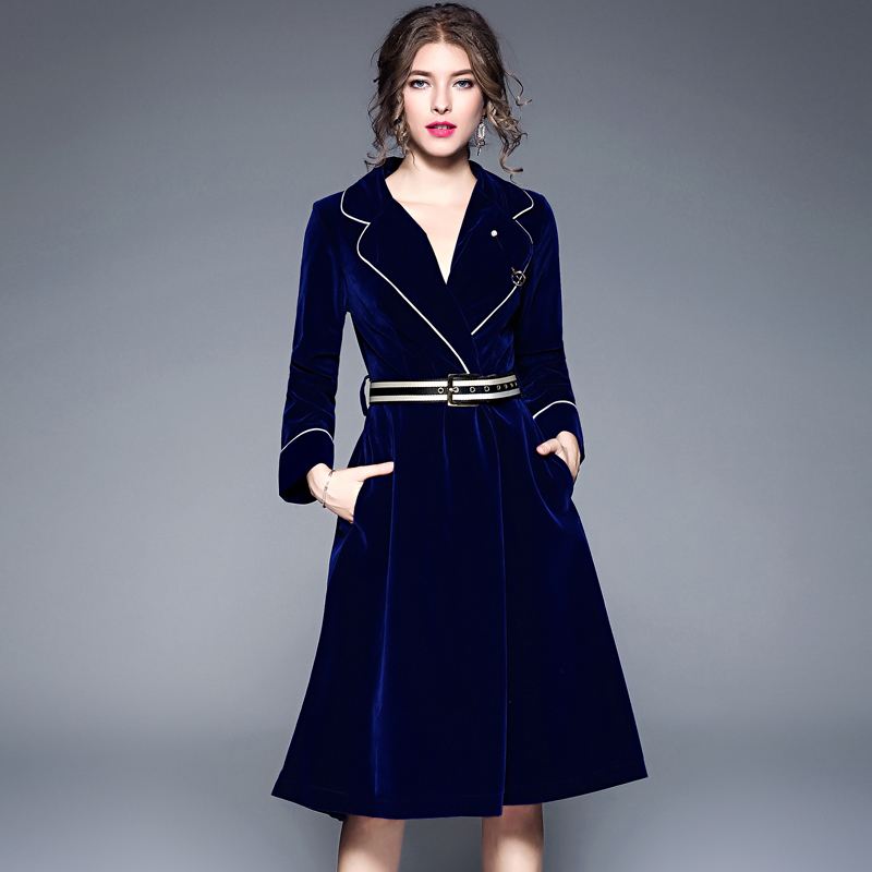 Brand 2019 Winter Runway Jacket Women s Luxury Velvet Dress Office Lady Notched Long Sleeve Midi