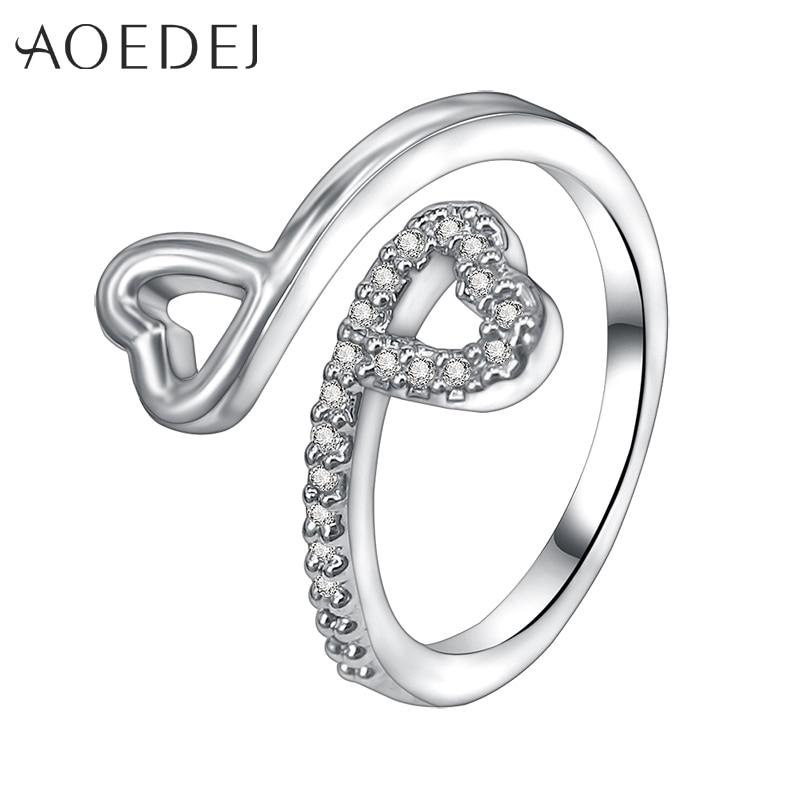 AOEDEJ Vintage Heart Open Design Rings for Women Rose Gold