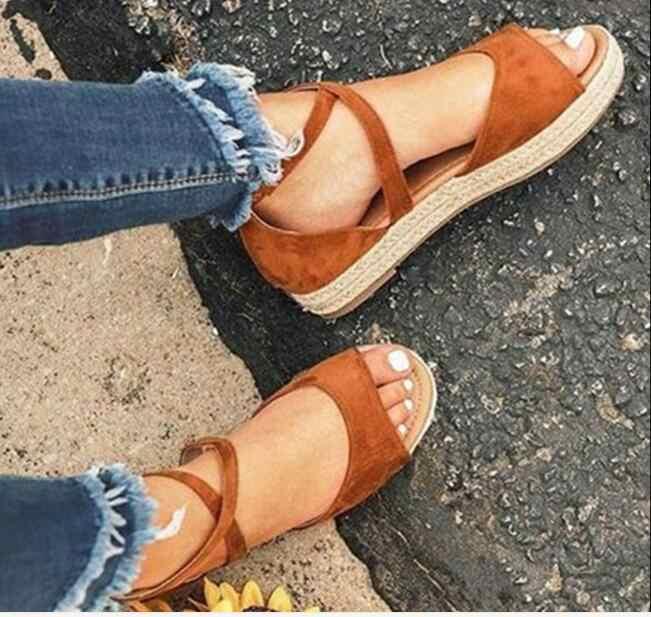 Yeni siyah Kadın Sandalet Düz Akın Gladyatör Sandalet Kadın Peep Toe Platformu Roma Platform ayakkabılar Kadın Sandalet