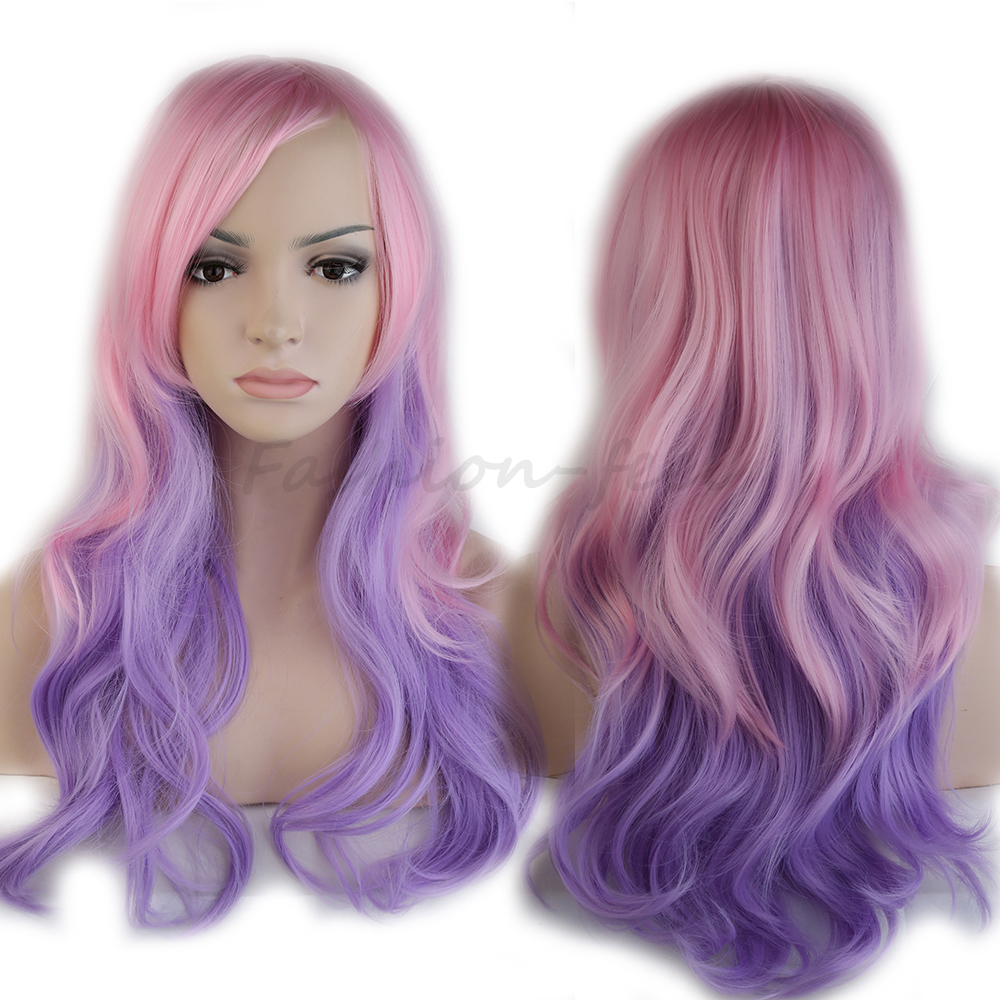 24 60cm Colorful Long Curly Wavy Synthetic Wig Laides New Gradient Cosplay Fancy Dress Mix Pink Purple High Quality Full Wigs k19 16inch wavy purple gradient light