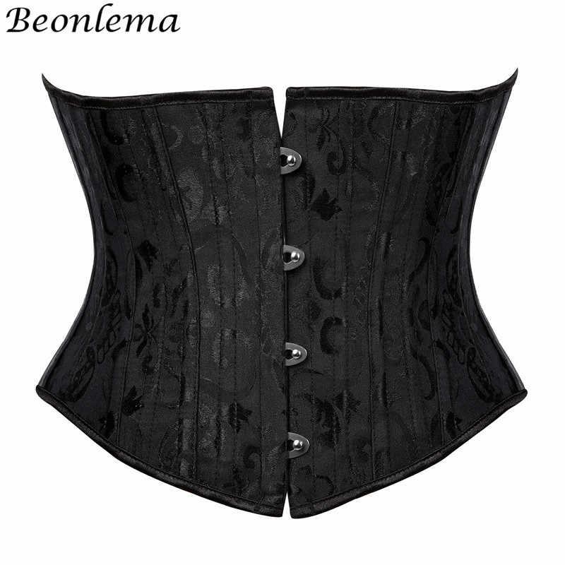 Beonlema Женский корсет со стальными костями Cincher Поддерживающий Пояс-корсет, корректирующий бюстье Fajas аксессуары в стиле стимпанка Femme XS-3XL черный бюстье