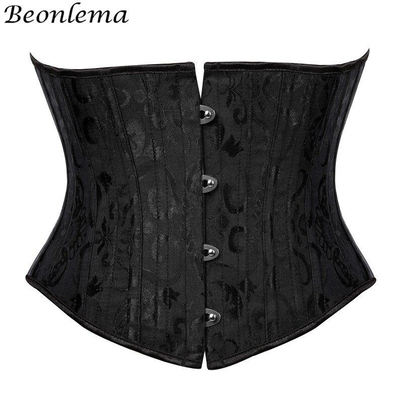 Beonlema Women Steel Bone Waist Cincher   Corset   Waist Slimming Underbust Fajas Steampunk Accessories Femme XS-3XL Black   Bustier