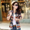 2016 Autumn Flanne Shirt Plaid Fashion Women Tops Blusas Femininas Classic Girls Blouses Casual Style Plus Size Women Clothing