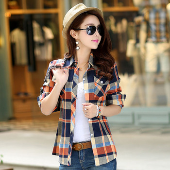 2016 Autumn Flanne Shirt Plaid Fashion Women Tops Blusas Femininas Classic Girls Blouses Casual Style Plus Size Women Clothing Women Shirts