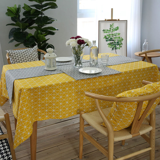 Yellow Gameboard Pattern – Decorative Table Cloth – Cotton Linen