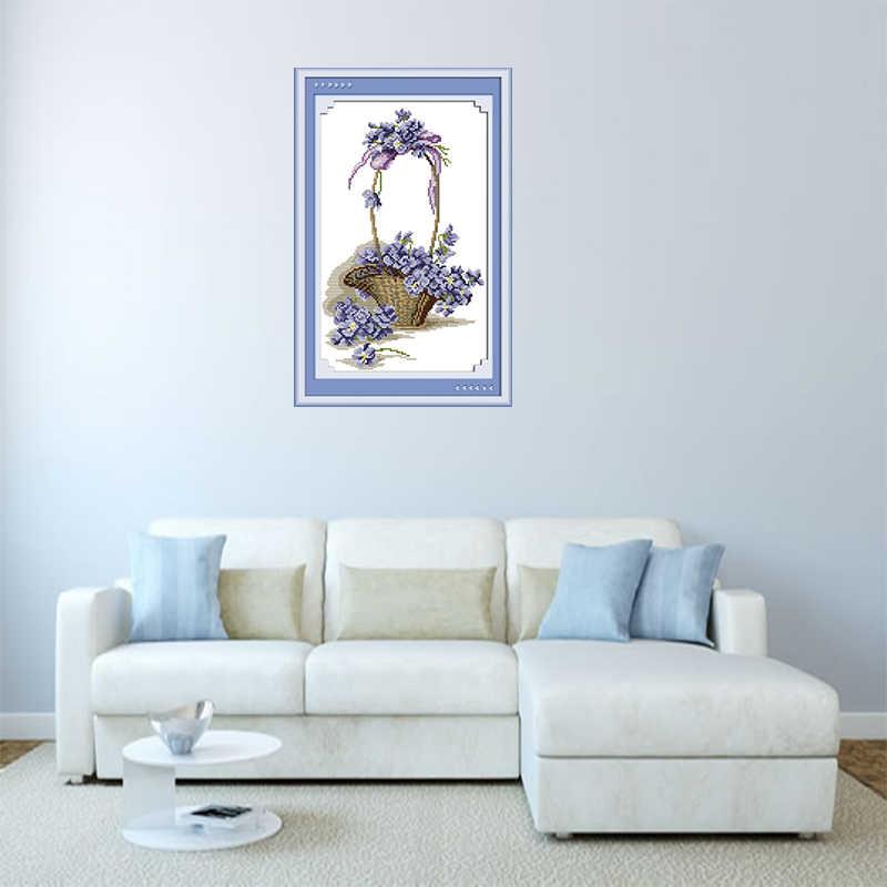 Viola Semplice E Moderno Stampato Kit Punto Croce Cesto di Fiori Yo-Yuan Floreale Cinese ricamati A mano Artigianato Pittura Decorativa