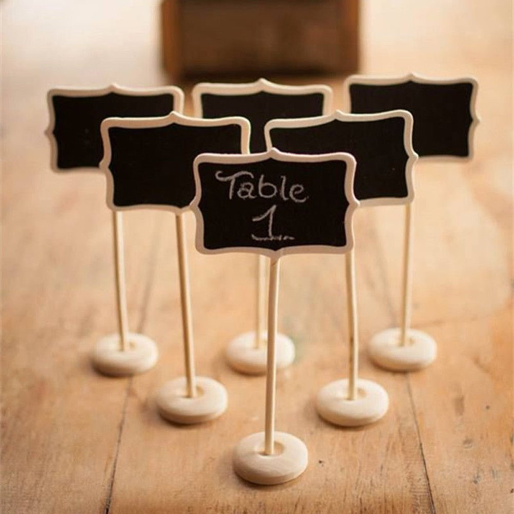 5pieces Mini Wooden Wood Chalkboard Blackboard On Stick Stand Holder Table Number For Wedding Event Decoration Free Ship In Party Diy Decorations From Home