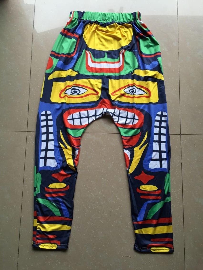 New Multi colour Symmetry Sweatpants Cinco de Mayo Costumes Panelled Jamaica Totem performance harem Hip Hop Dance pants