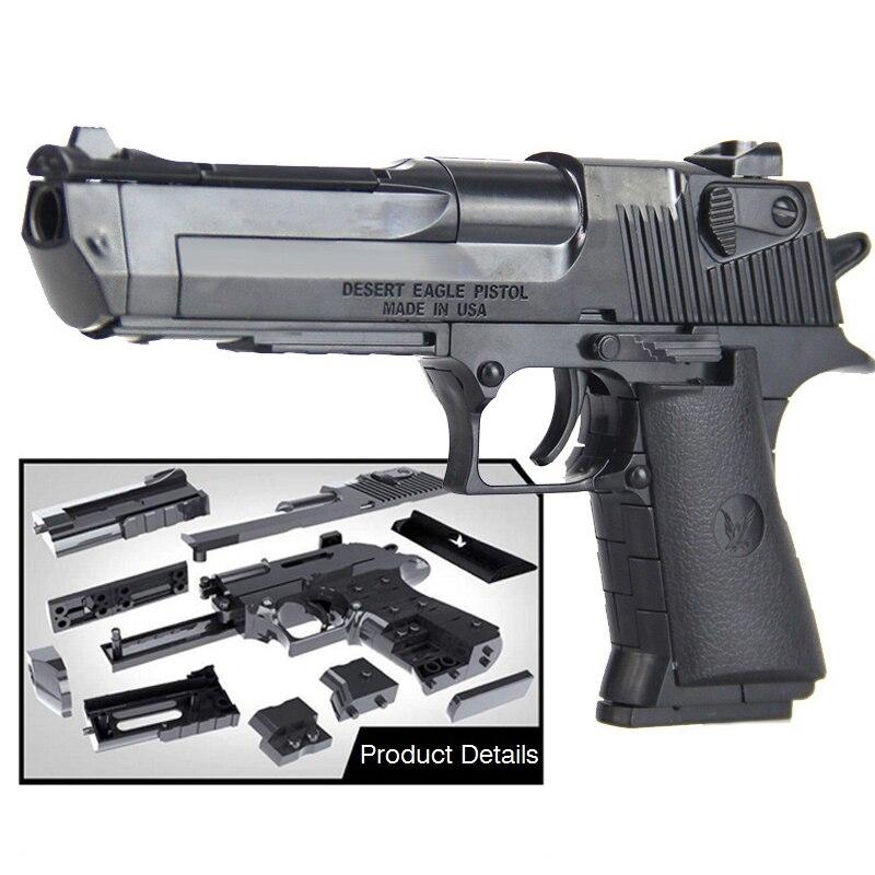 DIY Building Blocks Toys Weapon Desert Eagle And BERETTA Revolver Wtih Bullet Plastic Pistol Model For Children's Boys(China)