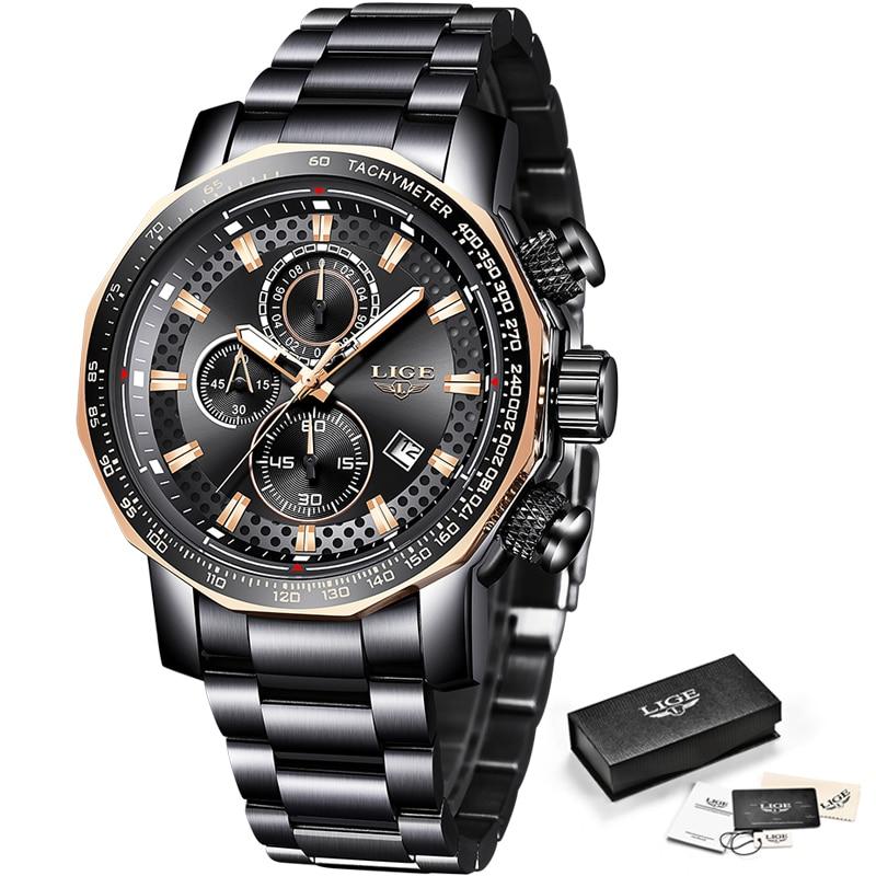 Relogio Masculino LIGE nouveau Sport chronographe hommes montres Top marque de luxe en acier complet Quartz horloge étanche grand cadran montre hommes - 6