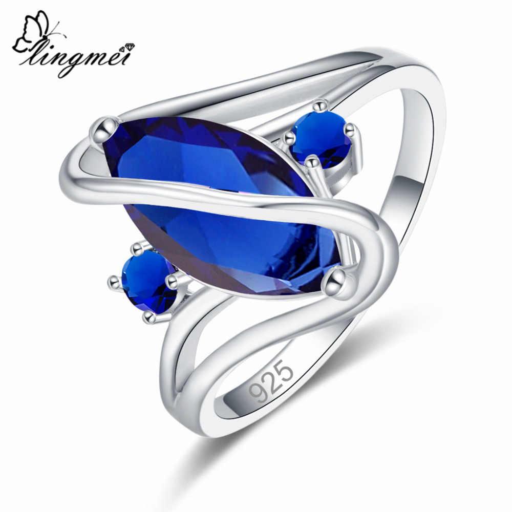 Lingmei Dropshipping แต่งงาน Marquise ตัด Multicolor สีแดงสีฟ้าสีเขียว Cubic Zircon แหวนเงิน 925 ผู้หญิงขนาด 6 7 8 9 10 11 12