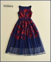 Mifairy 2017 Navy Blue Sleeveless Tulle Embroidery Long Women Dress Designer Vestidos De Festa Prom Style