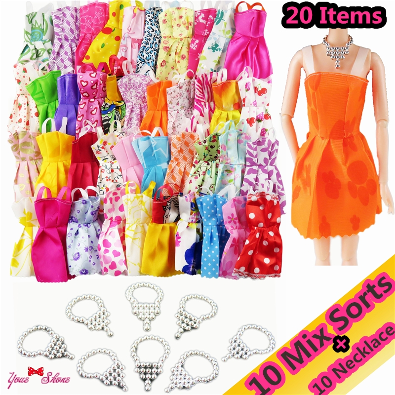 20 Items/ Lot=10 PCS Mix Sort Beautiful Party Clothes Fashion Doll Dress + 10 Pcs Plastic Necklace For Barbie Doll Best Gift Toy цена