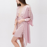 RenYvtil 2018 new hot women robe gown set sexy lace spaghetti strap shorts & bathrobe kimono 2pcs set satin plus size home gown