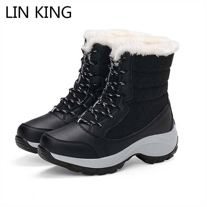 LIN KING Fashion Lace Up Women Boots Warm Plush Winter Shoes Wedges Ankle Platform Shoes Anti Skid Height Increase Swing Shoes lin king women casual shoes leisure lace up wedge shoes fashion low top massage ankle shoes solid massage outdoor single shoes