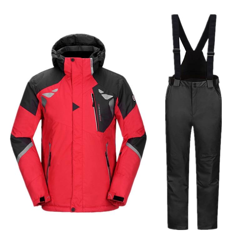 Vestito di Snowboard Tuta Da Sci Da uomo invernali Uomini Impermeabile Addensare Vestito di Sport Per Gli Uomini di Snowboard Pantaloni Giacca Invernale Giacca Da Sci pantaloni