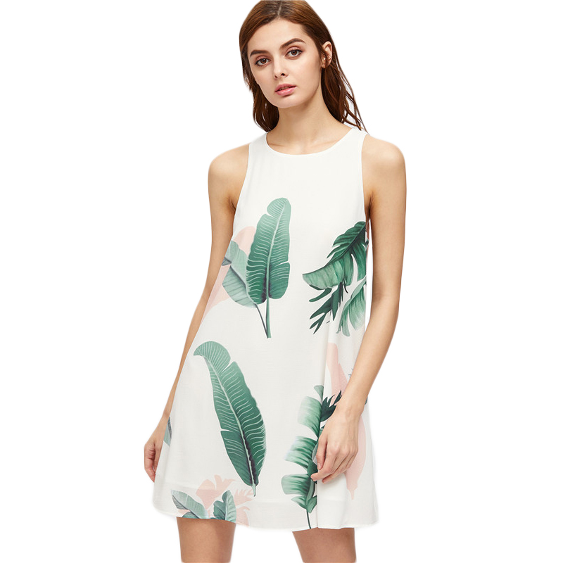 Shein-Foliage-Print-Buttoned-Keyhole-Back-Tank-Dress-Women-Summer-Dress-White-Sl