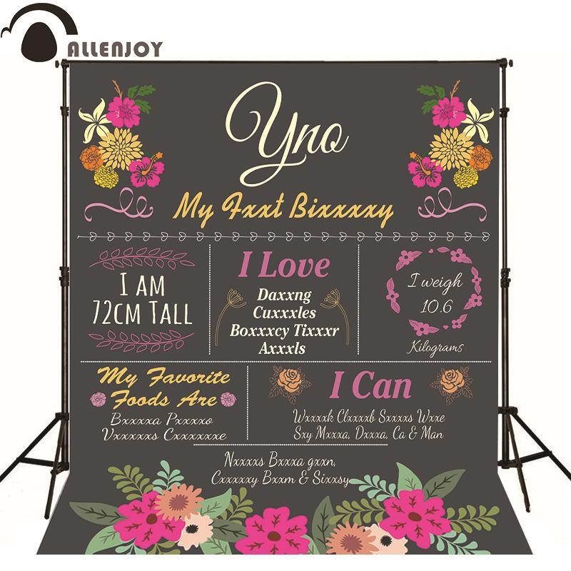 Allenjoy Photographic background Wedding Flowers blackboard love original design romantic fabric custom photography backdrops